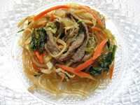 Chap Chae (Noodles with Beef and Mixed Vegetables)